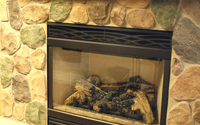 Hillside Granite Stone Veneer Fireplace